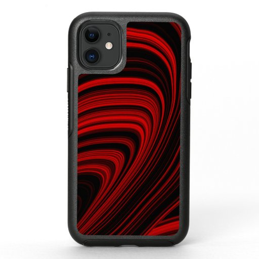 Black and Red Abstract Waves Geode OtterBox Symmetry iPhone 11 Case