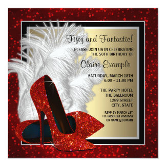 Black and Red and Gold High Heels Birthday Party Card