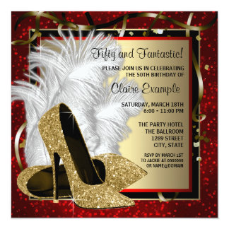 Black and Red and Gold High Heels Birthday Party 5.25x5.25 Square Paper Invitation Card