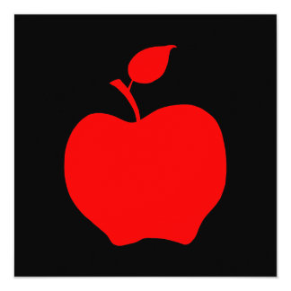 Black and Red Apple 5.25x5.25 Square Paper Invitation Card
