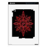 Black and Red Aum Star Skins For iPad 3