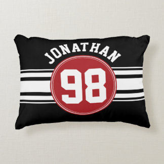 Black and Red Auto Racing Stripes Name Number Accent Pillow