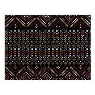 Black and Red Aztec Andes Tribal Pattern Postcard