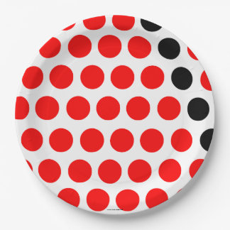 Black and red balls paper plate