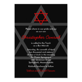 Black and Red Bar Mitzvah Invitation