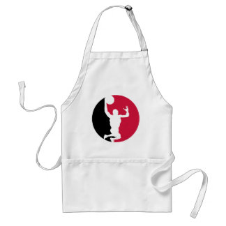 Black and Red Basketball Action Round Adult Apron