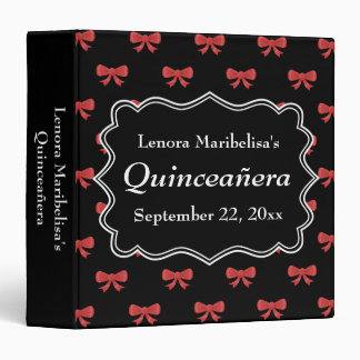 Black and Red Bows Pattern Print Quinceanera Binder
