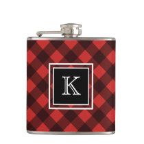 Black and Red Buffalo Check Custom Monogram Flask