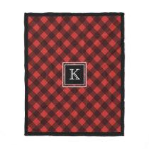 Black and Red Buffalo Check Custom Monogram Fleece Blanket