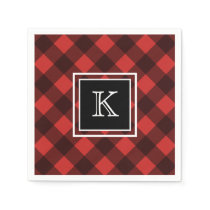 Black and Red Buffalo Check Custom Monogram Napkin