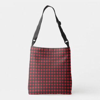 Black and Red Buffalo Check Plaid Crossbody Bag