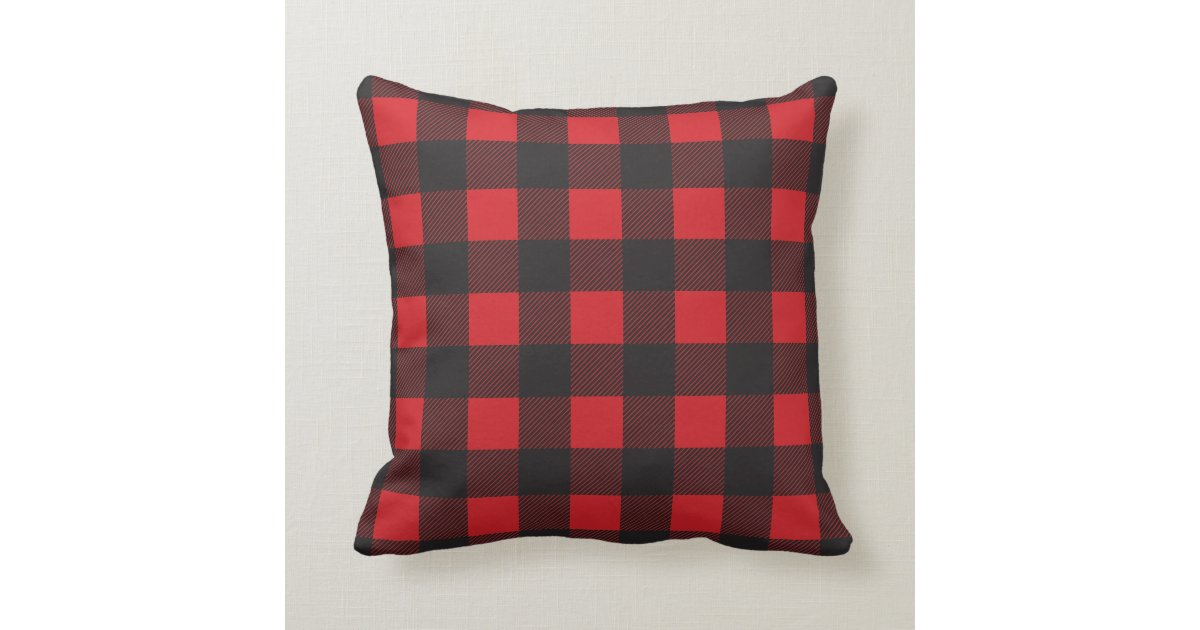 black and red buffalo check plaid throw pillow zazzle. Black Bedroom Furniture Sets. Home Design Ideas