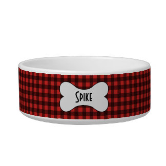 Black and Red Buffalo Check with Name in Dog Bone Bowl