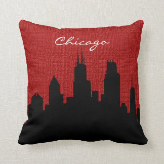 Black and Red Burlap Chicago Skyline Print Throw Pillow