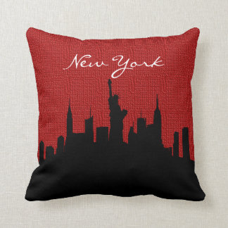 Black and Red Burlap New York Skyline | Landmark Throw Pillow