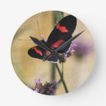 Black  and Red Butterfly Wallclock