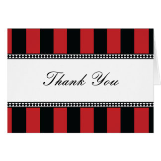 Black and Red Cafe Stripes Thank You Note Card