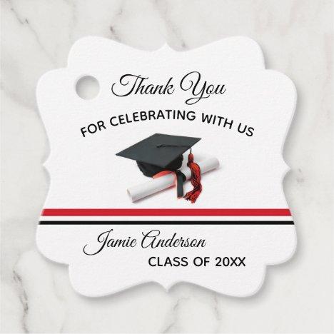 Black and Red Cap & Tassel   Graduation Favor Tags