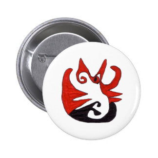 Black and Red Cat Pinback Button