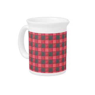 Black and Red Check Pitcher