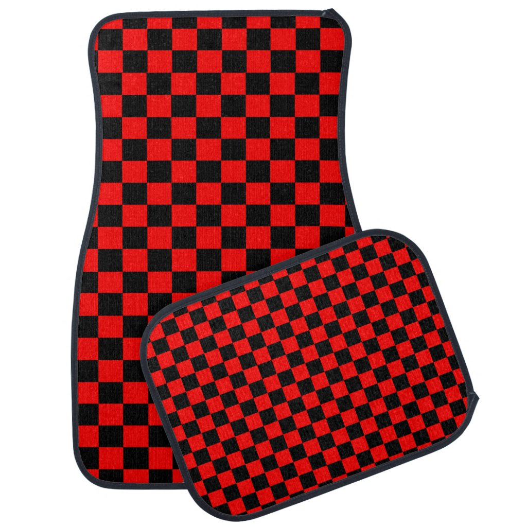 Black and Red Checkerboard Pattern Car Mat