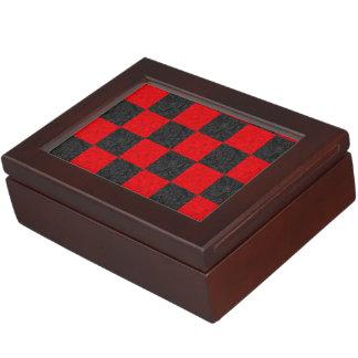 Black and Red Checkerboard Pattern Keepsake Box
