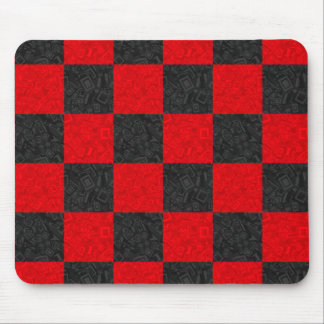Black and Red Checkerboard Pattern Mousepad