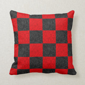 """Black and Red Checkerboard Pattern Pillow 16""""x16"""""""