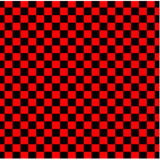 Black and Red Checkerboard Pattern Statuette