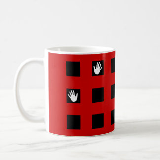 Black and red checkered coffee mug.