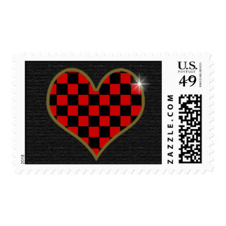 black and red checkered heart postage