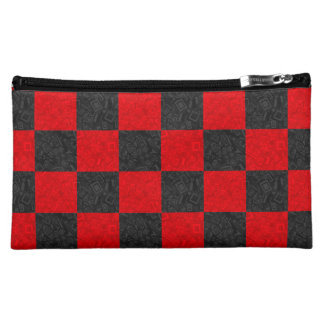 Black and Red Checkered Pattern Cosmetic Bag