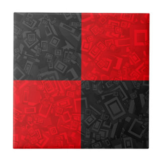 Black and Red Checkered Pattern Small Ceramic Tile