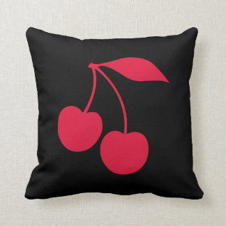 Black and Red Cherries Shape Throw Pillows