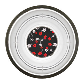 Black and Red Cherry Blossom Pattern Pet Bowl