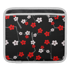 Black And Red Cherry Blossom Pattern Sleeve For Ipads at Zazzle