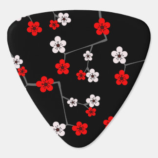 Black and Red Cherry Blossom Print Guitar Pick