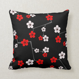 Black and Red Cherry Blossom Print Throw Pillow