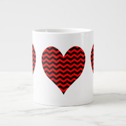 Black and Red Chevron Heart Large Coffee Mug