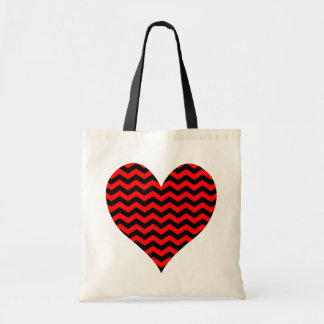 Black and Red Chevron Heart Tote Bag