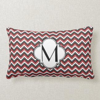 Black and Red Chevron Monogram Throw Pillow