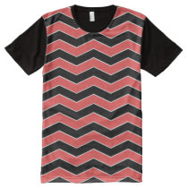 Black and Red Chevron Pattern All-Over-Print Shirt