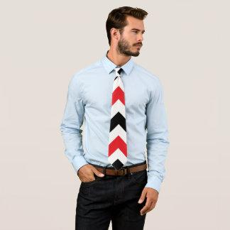 Black and red chevron pattern neck tie