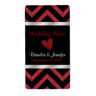 Black and Red Chevron Wedding Mini Wine Labels
