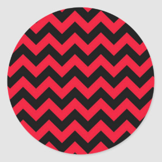 Black and Red Chevrons Classic Round Sticker