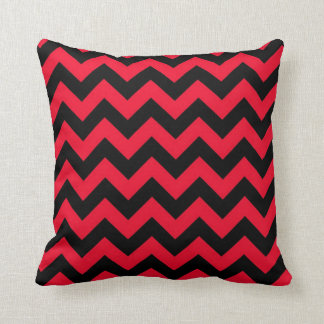 Black and Red Chevrons Throw Pillow