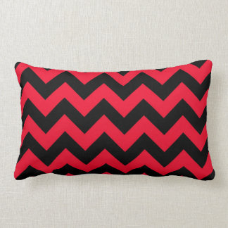 Black and Red Chevrons Throw Pillows