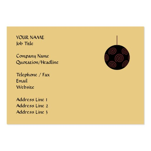 Black and Red Christmas Bauble on Gold Color Business Card Template