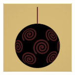 Black and Red Christmas Bauble on Gold Color Print