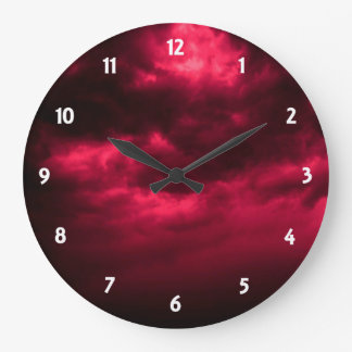 Black and Red Cloudy Sky Clock